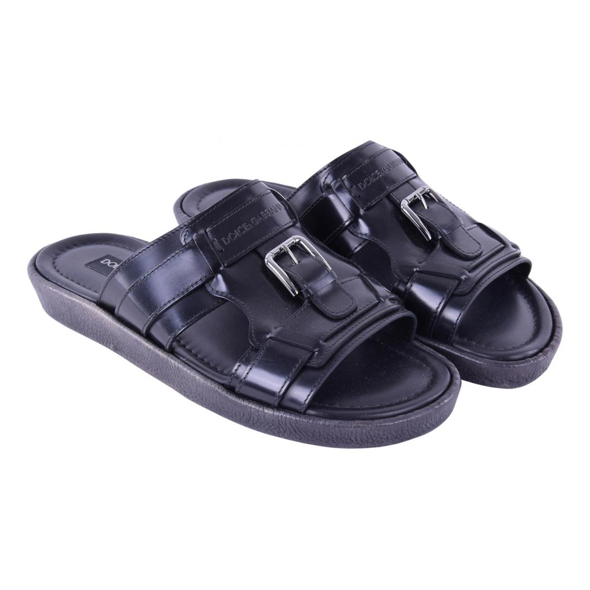 Dolce & Gabbana N Black Leather Sandals for Men 41 EU