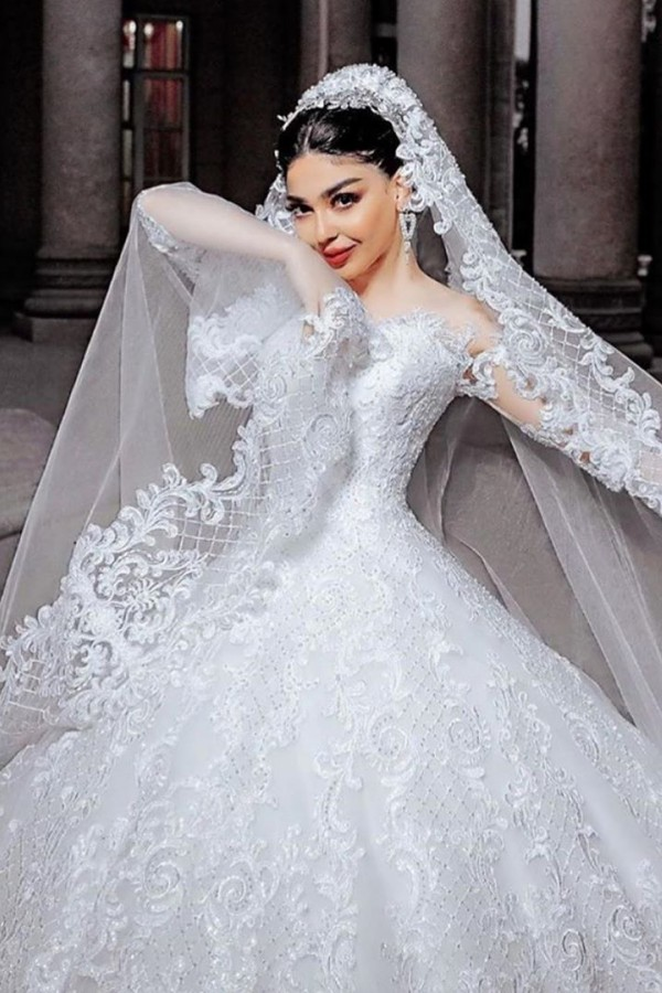 Sheer Tulle Long Sleeve Ball Gown Wedding Dresses   Beads Appliques Bridal Gowns With Court Train