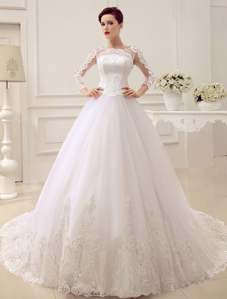 Milanoo Princess Wedding Dresses Long Sleeve Bridal Gown Lace Applique Sequin Beaded Illusion Ball Gown Bridal Dress With Train
