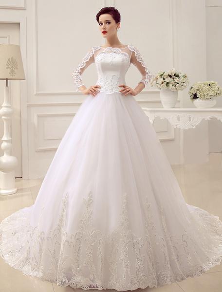Milanoo Vestido de novia princesa 2020  con cola catedral con escote redondo con 3/4 manga