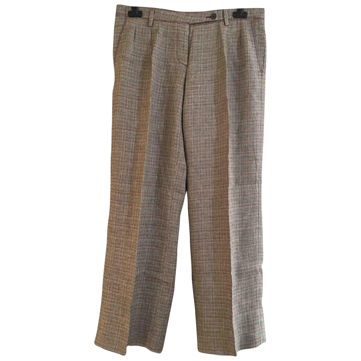 Mauro Grifoni \N Brown Linen Trousers for Women 44 IT
