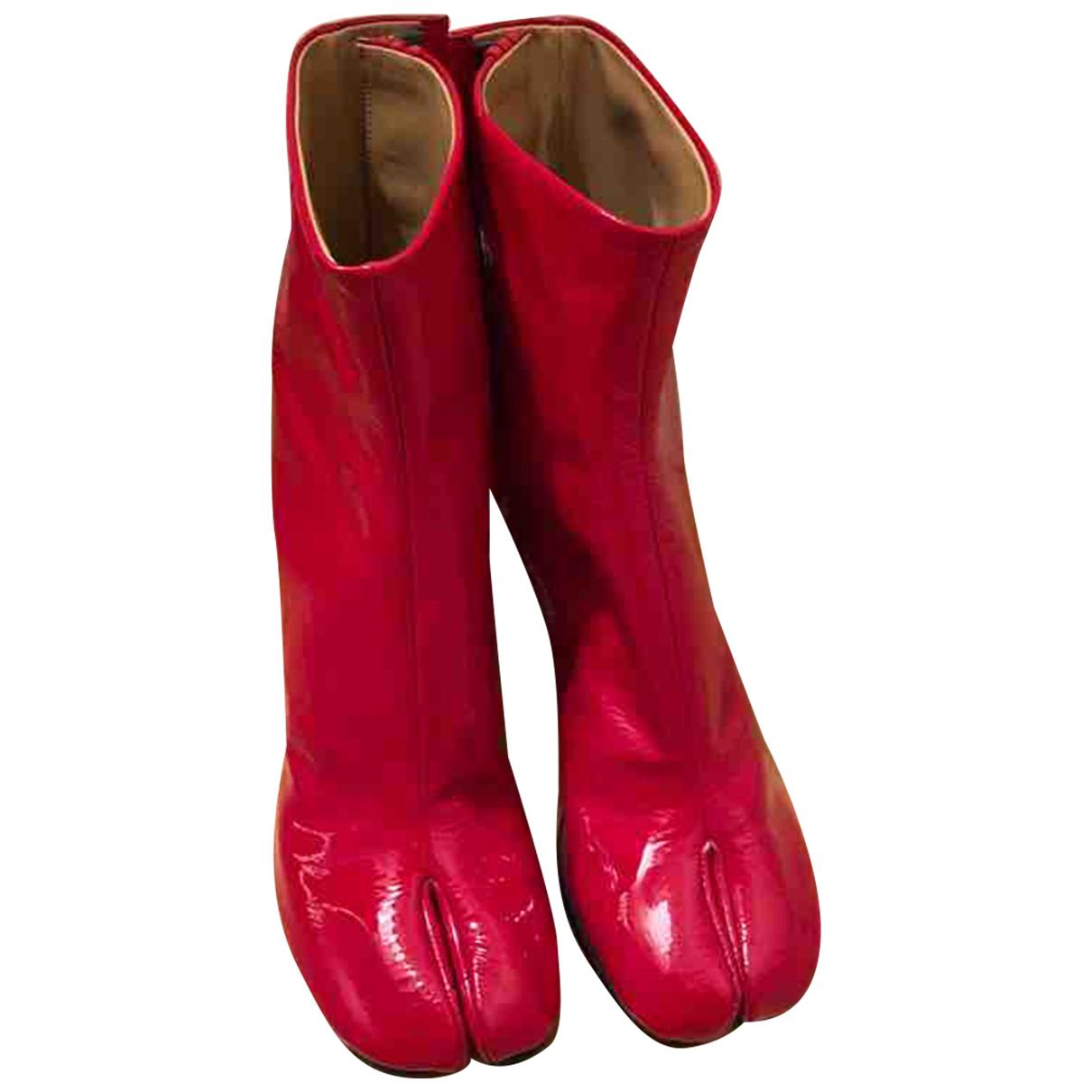 Maison Martin Margiela - Bottes Tabi pour femme en cuir - rouge