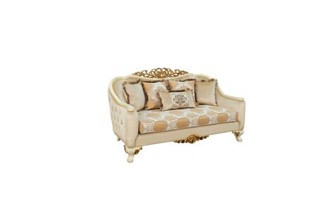 Angelica Collection Luxury Loveseat  Hand Carved and Handcrafted  Pillows Included  Seat Cushion Reversible  in Beige and Dark Gold