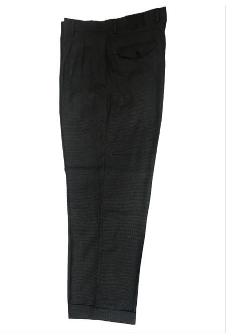 Dark Grey Mini Checker Wide Leg Slacks ~ Dress Pants Patter