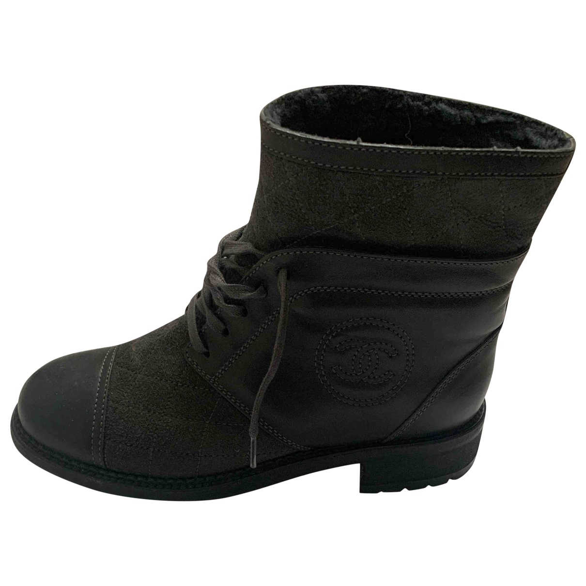 Chanel \N Anthracite Leather Ankle boots for Women 38 EU