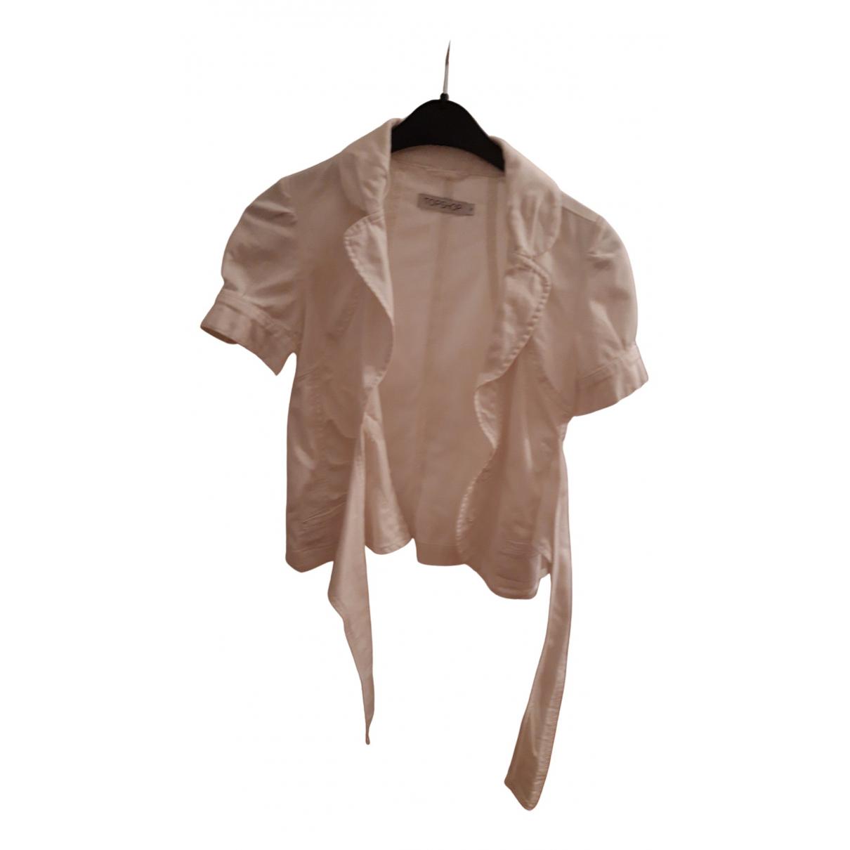 Topshop - Veste   pour femme en coton - blanc