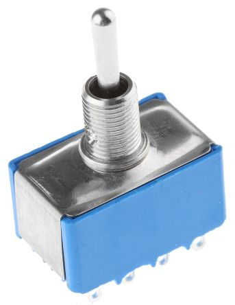 APEM 4PDT Toggle Switch, On-Off-On, Panel Mount
