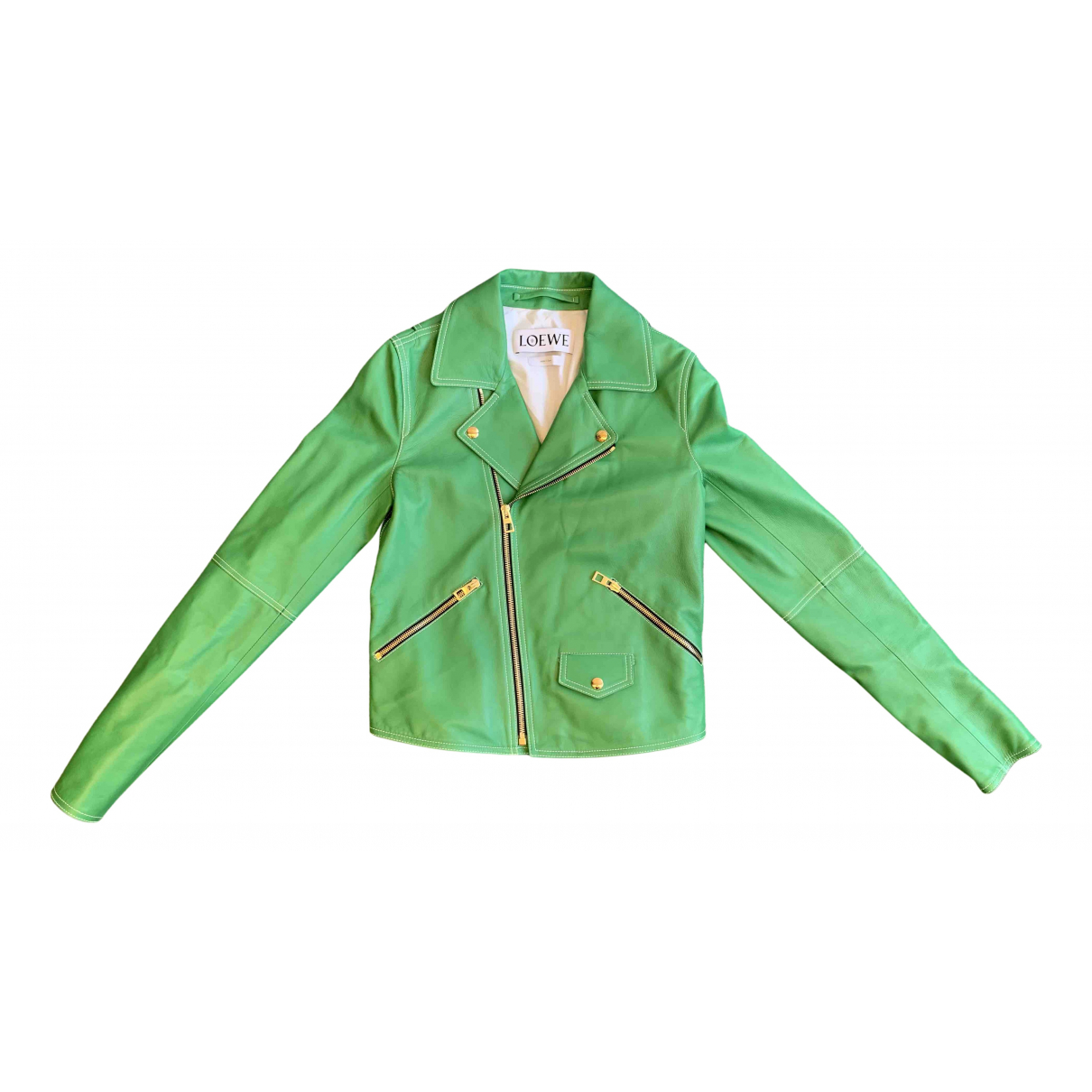 Loewe N Green Leather Leather jacket for Women 34 FR