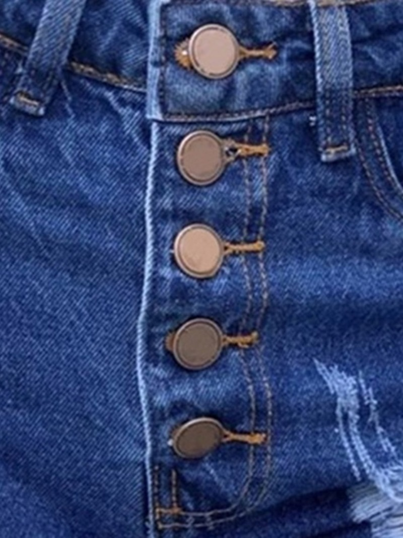 Ericdress Hole Plain Button Slim Shorts