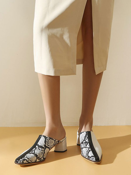 Milanoo Women\'s Mules Clogs PU Leather White Square Toe Snake Print Slip-On Mules