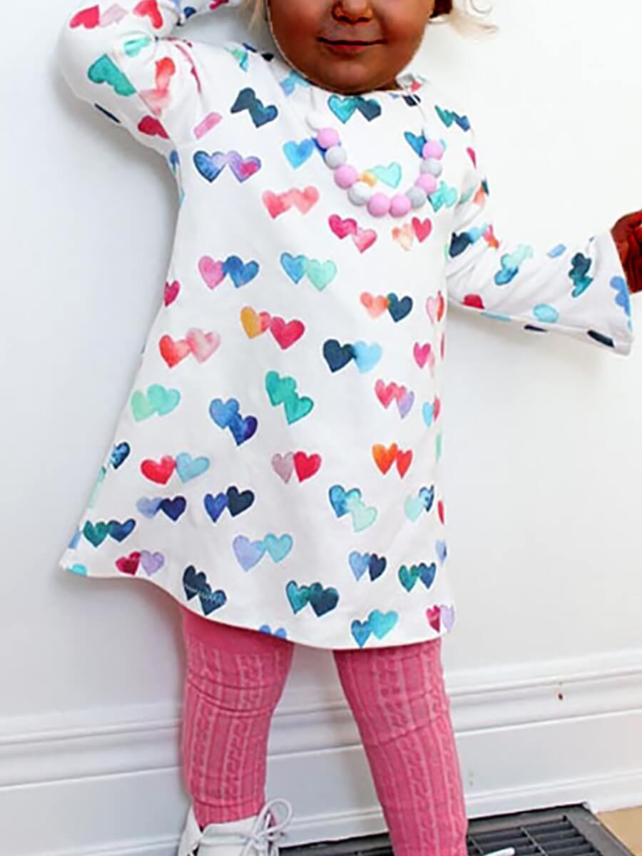 LW Lovely Trendy O Neck Heart Print White Girl Knee Length Dress