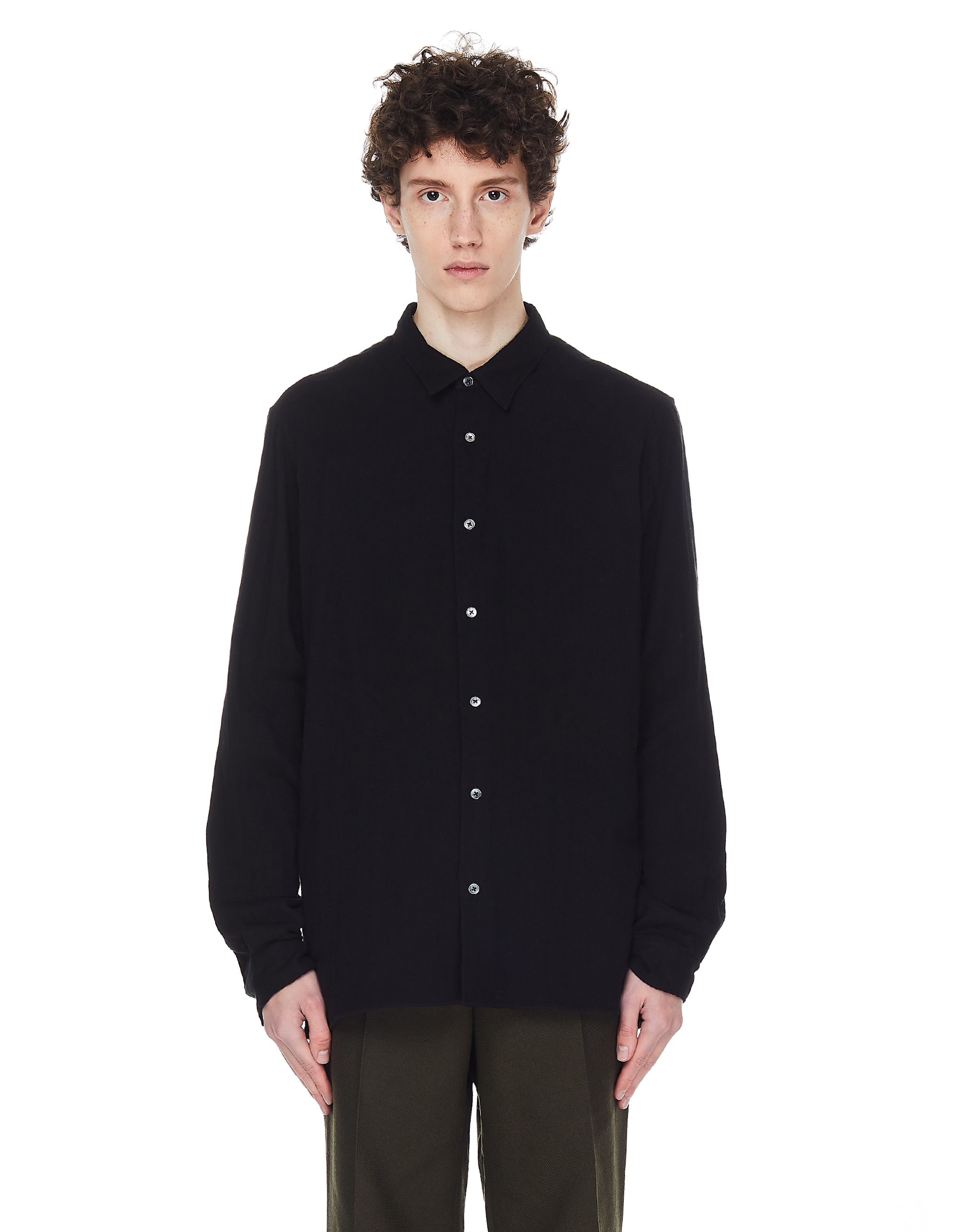 Ann Demeulemeester Black Cotton Straight Shirt