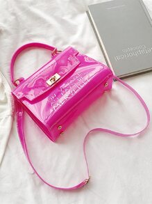 Letter Graphic Clear Satchel Bag