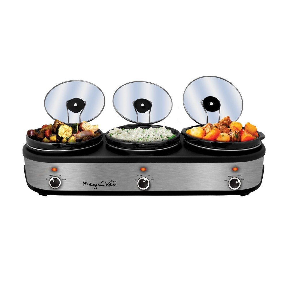 MegaChef Buffet Server Slow Cooker with Triple 2.5 Quart Cooking Pots (Silver)