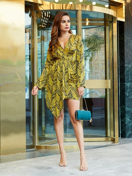 YOINS Yellow Zebra Zip Design V Neck Long Sleeves Wrap Dress