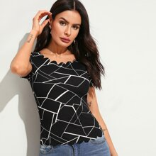 Geo Print Scallop Edge Fitted Top