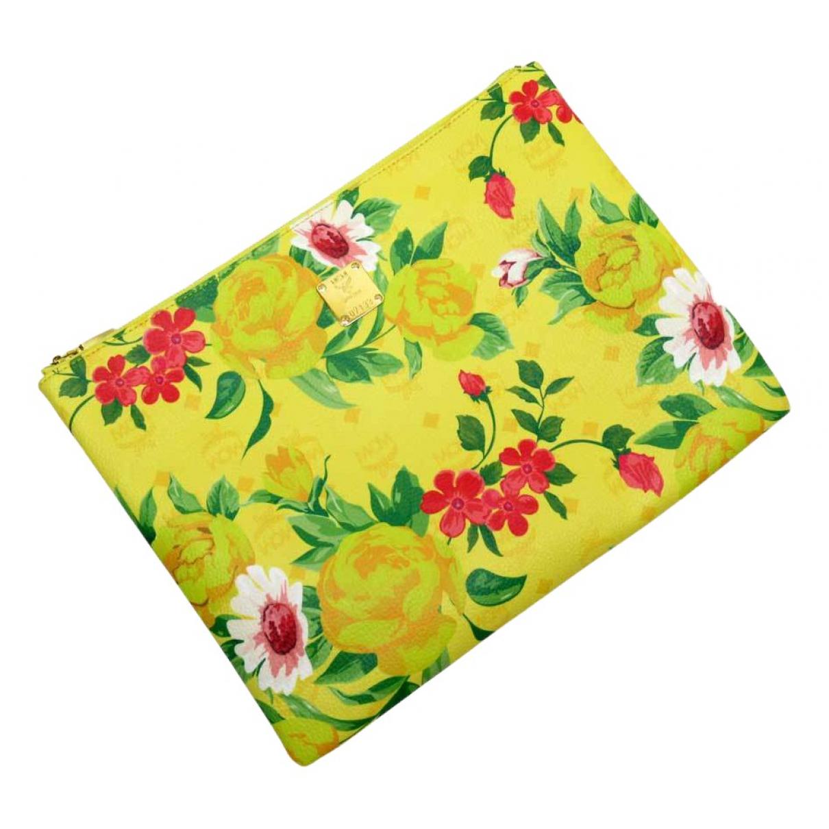 Mcm - Pochette   pour femme en toile - jaune