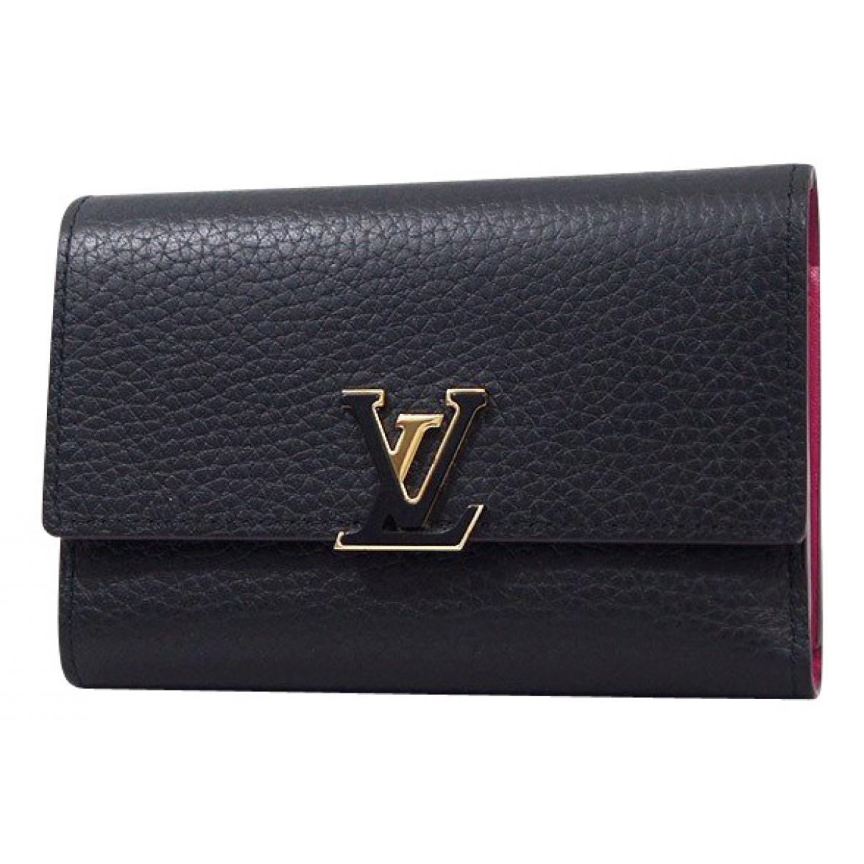 Louis Vuitton - Portefeuille Capucines pour femme en cuir - noir