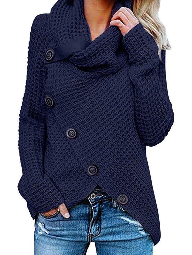 Ericdress Thin Single-Breasted Regular Long Sleeve Heap Collar Sweater