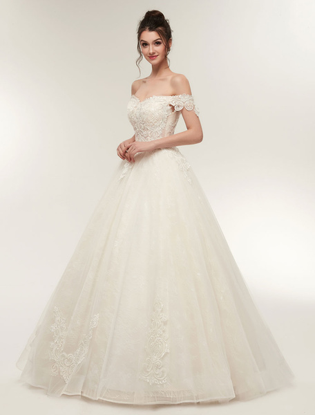 Milanoo Princess Wedding Dresses Off The Shoulder Ivory Bridal Dresses Lace Applique Tulle Floor Length Ball Gowns