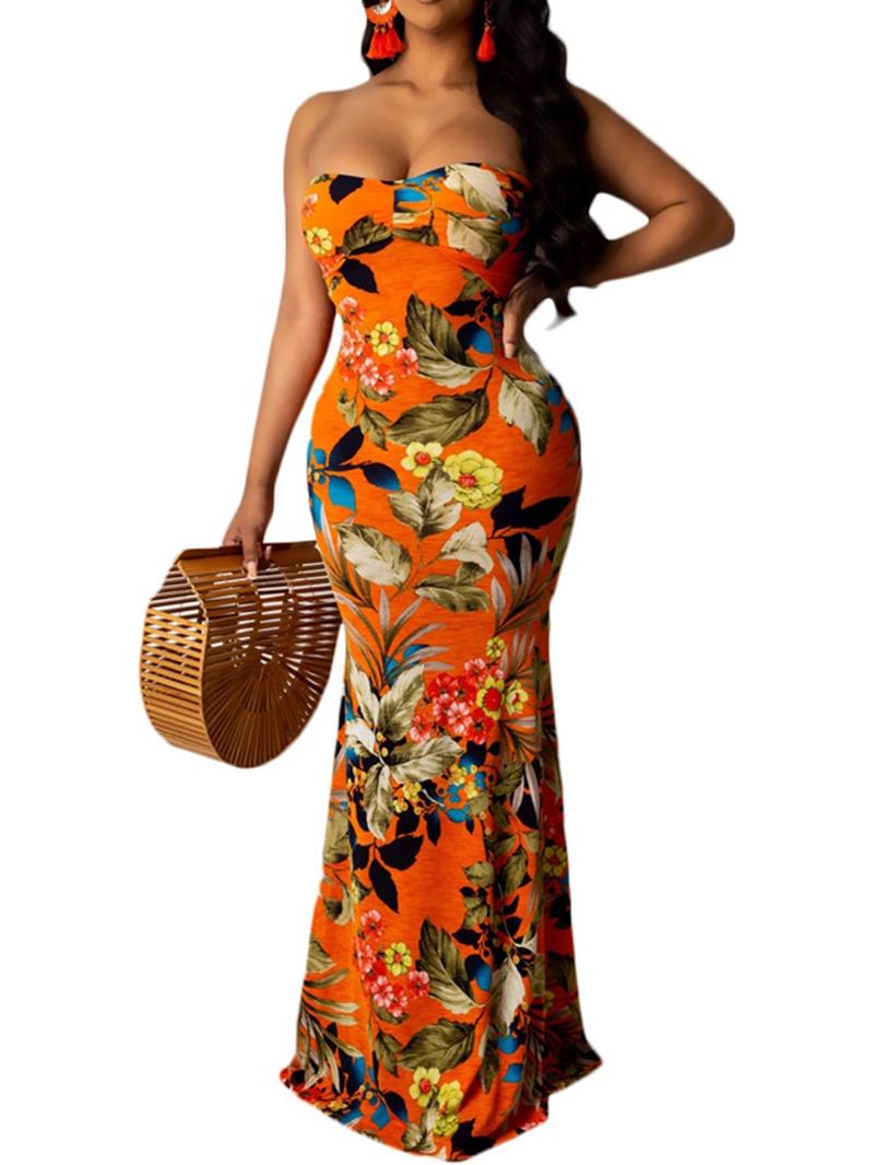 Ericdress Print Sleeveless Floor-Length Plant Dress