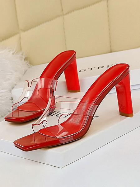 Milanoo Sandal Slippers Black Square Toe Slip-On Sandal Slides Women\'s Shoes
