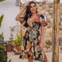 Floral & Tropical Print Belted Wrap Dress
