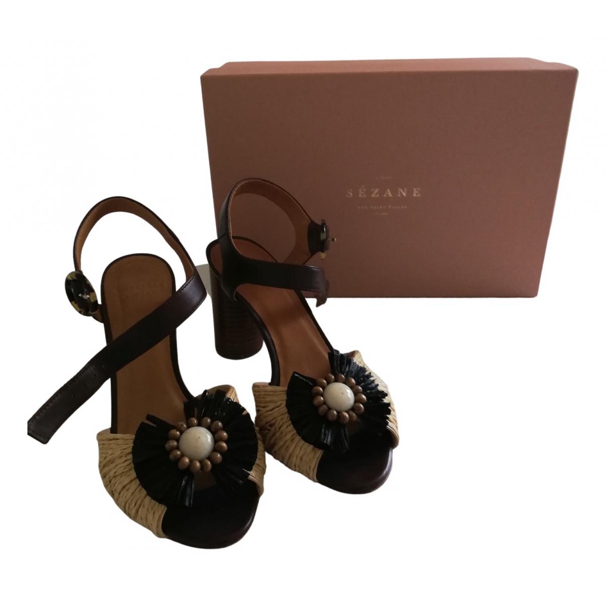 Sézane Spring Summer 2020 Camel Leather Sandals for Women 36 EU