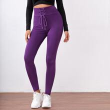 Solid Lace Up Front Leggings