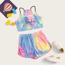 Girls Letter Graphic Tie Dye Racer Back Cami Top & Track Shorts Set