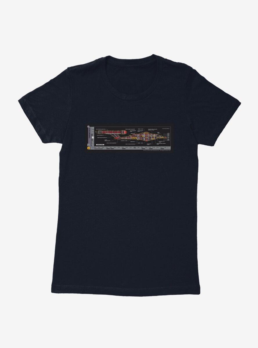 Star Trek NX-01 Ship Blueprints Side Womens T-Shirt
