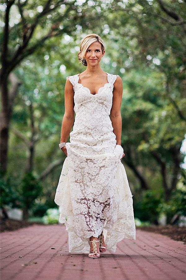 Elegant Full Lace Wedding Dress Open Back Sleeveless Summer Wedding Gowns