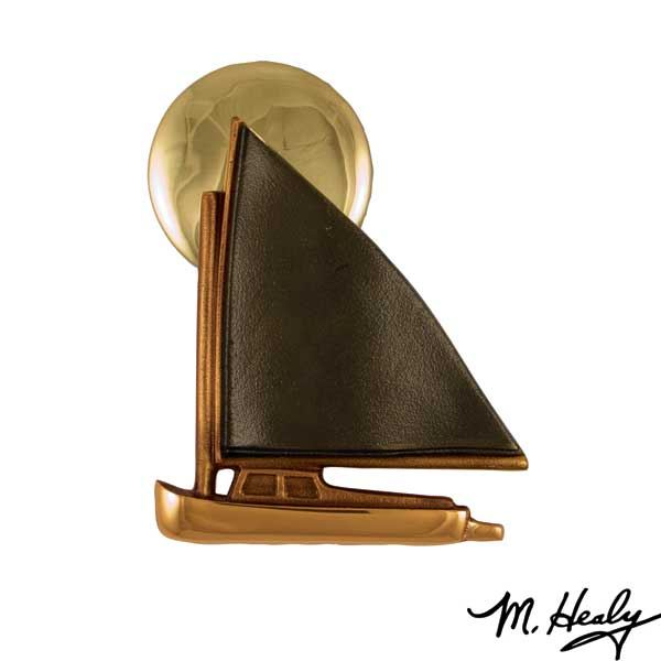 Catboat at Sunset Door Knocker, Polished Brass and Brown Patina