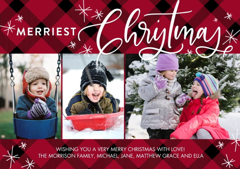 Christmas Photo Cards 5x7 Cards, Premium Cardstock 120lb with Elegant Corners, Card & Stationery -Christmas Merriest Stars by Tumbalina