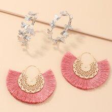 2pairs Butterfly Tassel Design Earrings