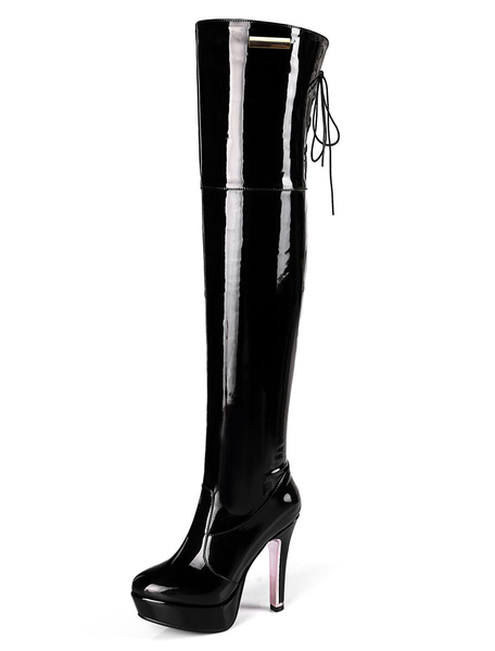 Milanoo Over The Knee Boots Womens Patent Leather Lace Up Round Toe Stiletto Heel Boots