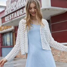 Pointelle Button Through Solid Cardigan