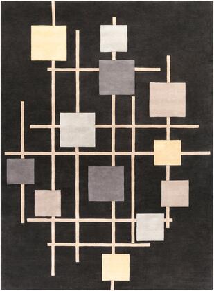 Forum FM-7200 8 x 11 Rectangle Modern Rug in Black  Cream  Taupe  Medium Gray  Butter