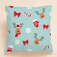 Christmas Elk Print Cushion Cover Without Filler