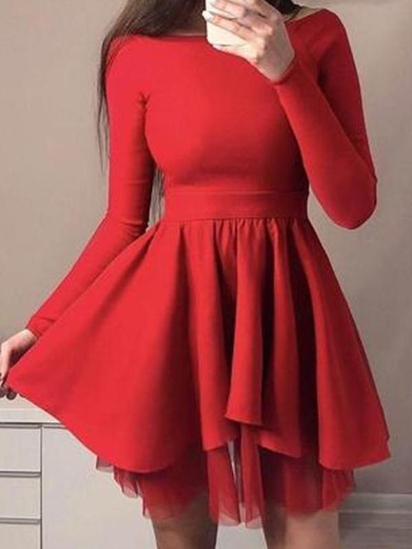 Ericdress Short Long Sleeves A-Line Scoop Homecoming Dress