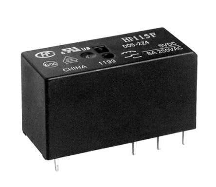 Hongfa Europe GMBH , 5V dc Coil Non-Latching Relay SPDT, 8A Switching Current PCB Mount, 2 Pole (2)