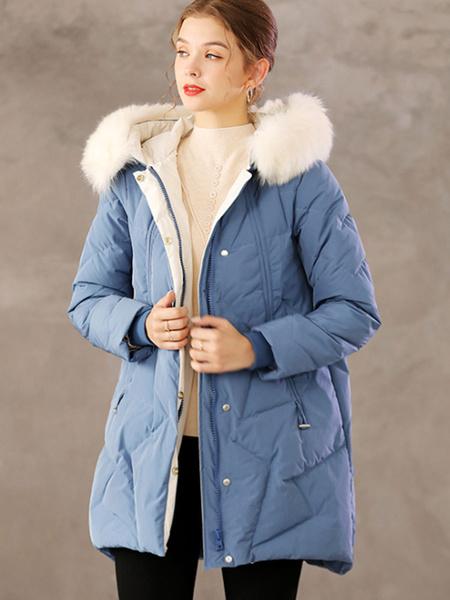 Milanoo Abrigos acolchados para mujer Bolsillos azules Cremallera Manga larga Ropa de abrigo de invierno