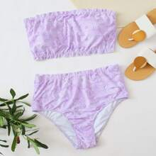 Plus Tribal Lettuce Trim Bandeau Bikini Swimsuit