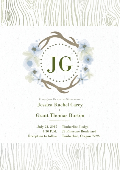Wedding Invitations Flat Matte Photo Paper Cards with Envelopes, 5x7, Card & Stationery -Elegant Lodge