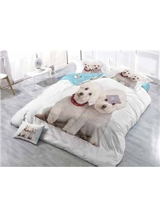 Lovely White Puppies Wear-resistant Breathable High Quality 60s Cotton 4-Piece 3D Bedding Sets