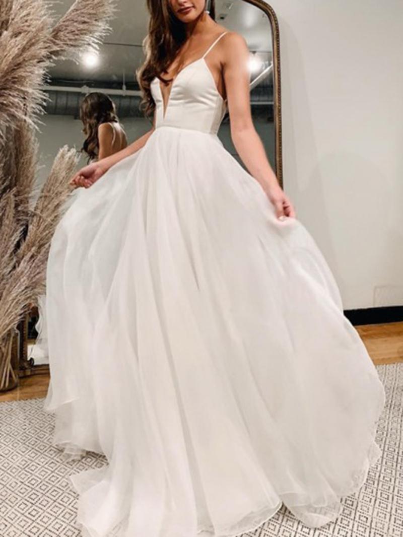 Ericdress Spaghetti Straps A-Line Outdoor Wedding Dress