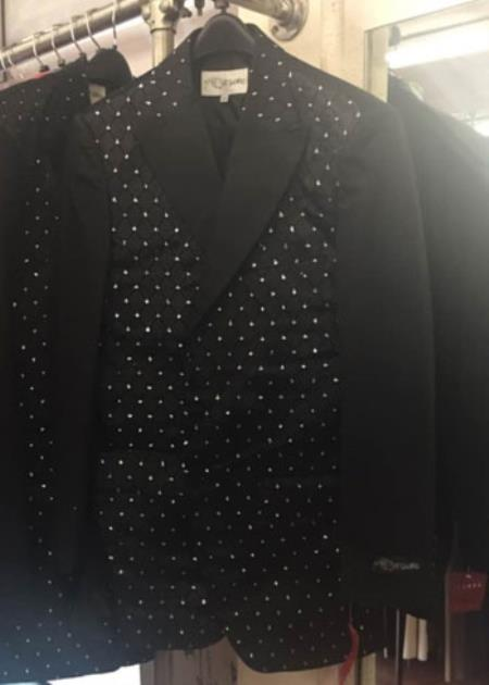 Mens Black Blazer with Mettalic dots and contrast sleeves and lapel