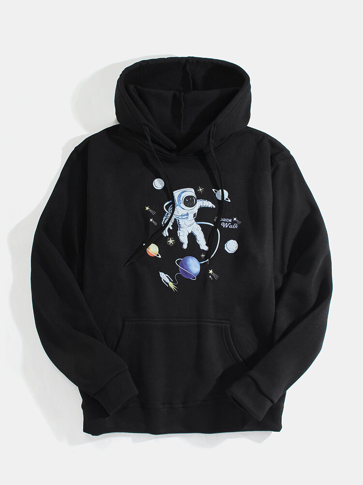 Mens Astronaut Planet Print Casual Pouch Pocket Drawstring Hoodies