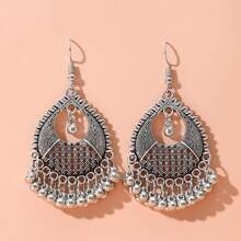 Hollow Out Round Decor Bead Tassel Drop Earrings