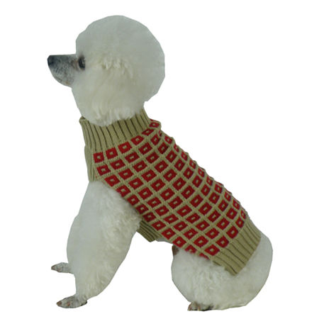 The Pet Life Butterscotch Box Weaved Heavy Cable Knitted Designer Turtle Neck Dog Sweater, One Size , Red
